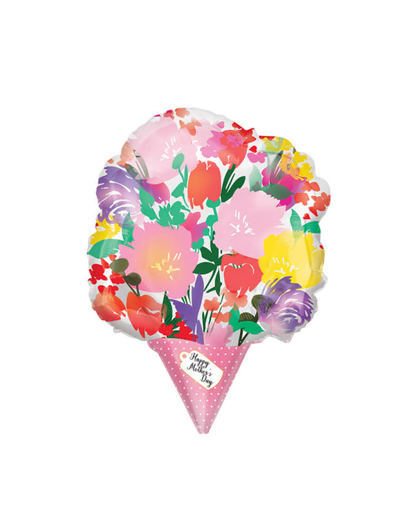 Anagram Balloons - 18inch Happy Mother's Day Watercolor Bouquet Foil Balloon. This elegant flower bouquet shaped foil balloon is perfect for your Mother's Day celebration