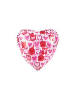 "CTI 17"" Junior Heart Block Pattern Clear Non-Foil Balloon for Valentine's Day"