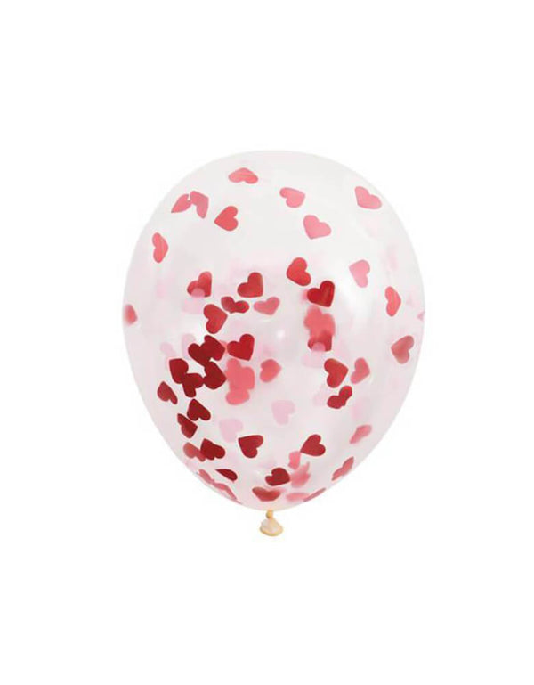 "Unique 16"" Heart Valentines Day Confetti Balloons, 5ct"