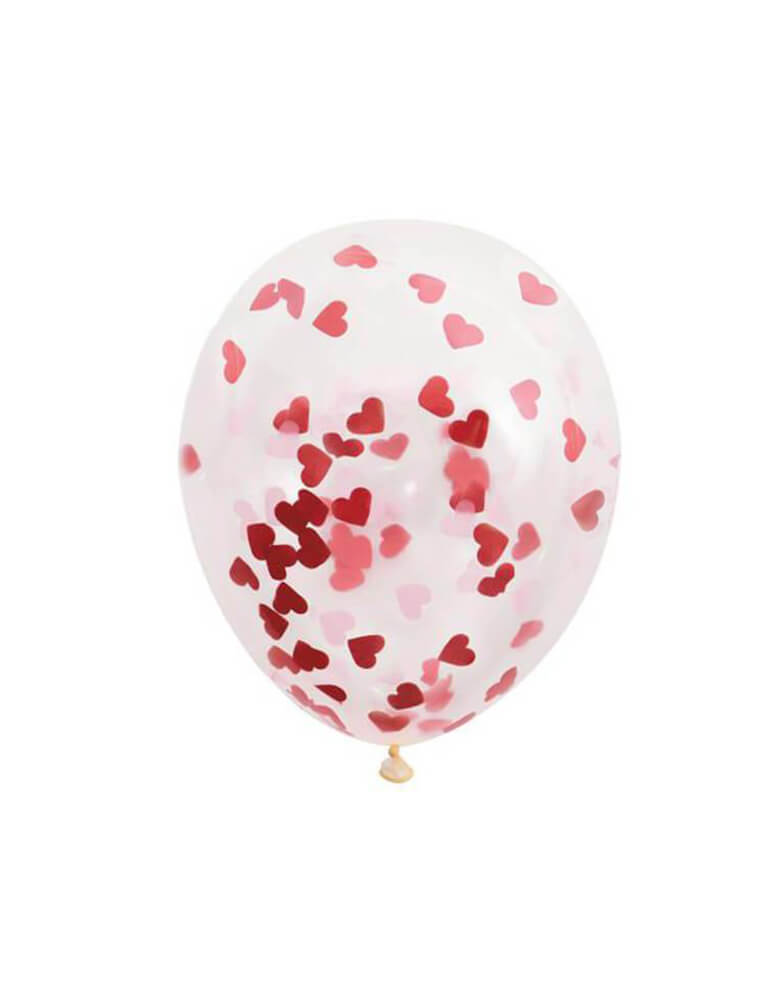 "Unique balloon -  16"" Heart Valentines Day Confetti Balloons, Celebrate Valentine's Day or love themed parties with these 16"" clear balloons filled with heart shaped confetti!"