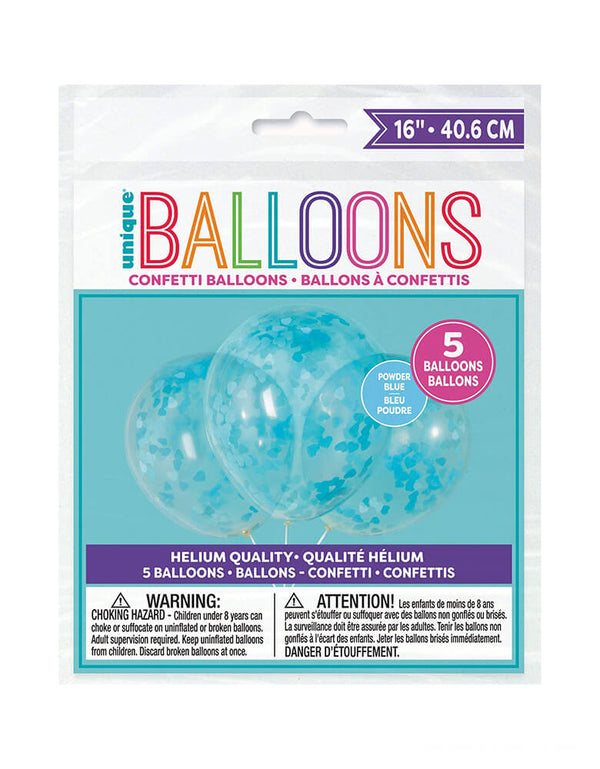 Heart Shaped Confetti Balloon Mix - Blue