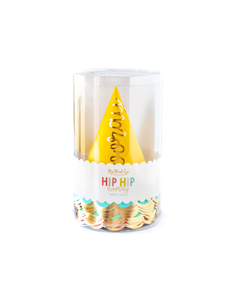 My Mind's Eyes Hip Hip Hooray Colorful Party Hats in transparent package