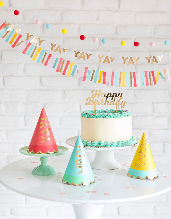 My Mind's Eyes Hip Hip Hooray Colorful Party Hats with Happy Birthday Cake with wall decoration