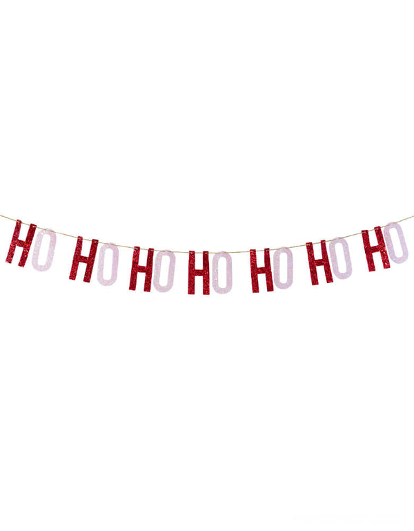 Studiopep, Ho Ho Ho Artisan Banner in Red & Pink letters, This hand-pressed artisan banners is cut from high quality, glitter fabric and includes thick glitter cord