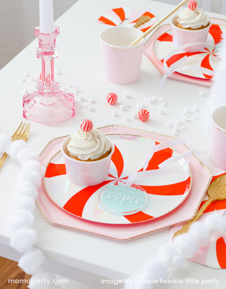 Christmas Peppermint Plate Layerd with Dusty Pink Plate Christmas Holiday Tablescape Ideas