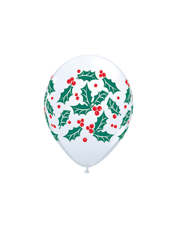 "Qualatex 11"" inch Holly & Berries Printed Latex Balloon. Add these festive holly and berries printed latex balloons to your Holiday celebration!"