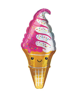 "41"" Holographic Smiling Strawberry Swirl Ice Cream Cone Foil Balloon"