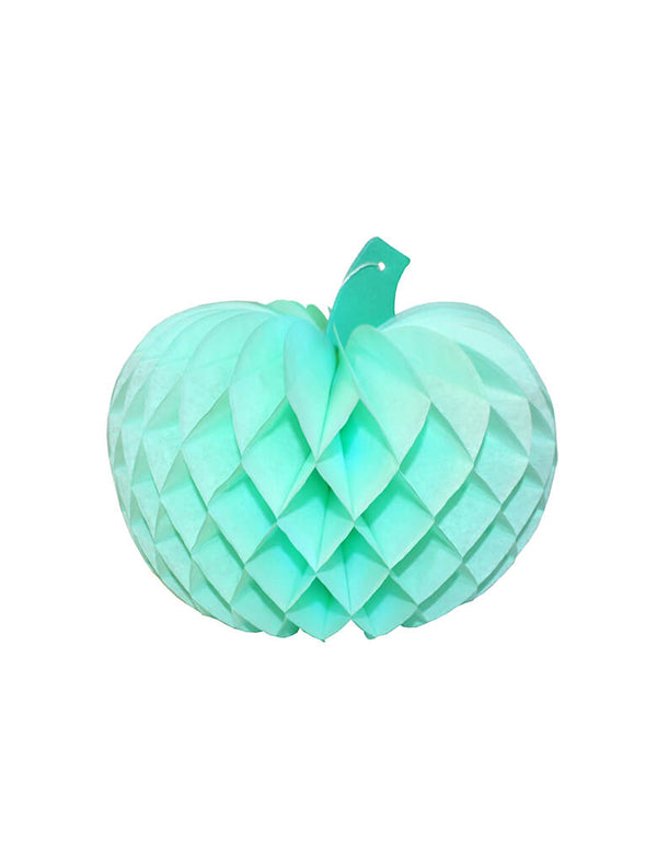 Devra Party Pumpkin Honeycomb Tissue Paper in Mint color, 10 inch, Made in the USA. This Honeycomb is made from high quality tissue paper and have a looped hanging string attached, is the perfect addition to your event decor, table centerpiece, or photo booth prop. Hang them from the ceiling, or display in your table or room. With the easy set up and colorful unique design pumpkin shape, perfect decoration for a Halloween party, Spooky Halloween party, hocus pocus party, Witch Party