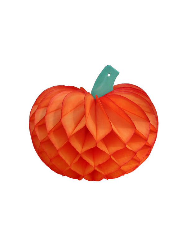 Devra Party Pumpkin Honeycomb Tissue Paper in Orange color, 10 inch, Made in the USA. This Honeycomb is made from high quality tissue paper and have a looped hanging string attached, is the perfect addition to your event decor, table centerpiece, or photo booth prop. Hang them from the ceiling, or display in your table or room. With the easy set up and colorful unique design pumpkin shape, perfect decoration for a Halloween party, Spooky Halloween party, hocus pocus party, Witch Party