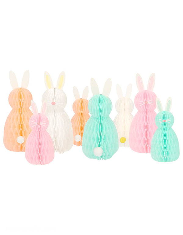 Meri Meri Honeycomb Spring Bunnies. Featuring Honey comb bunnies with pompom tails and nose + whisker stickers to make them extra cute! These adorable honeycomb bunnies make fabulous decorations for your Easter or springtime party. The set includes 4 large bunnies and 4 smaller bunnies, in soft pastel colors.