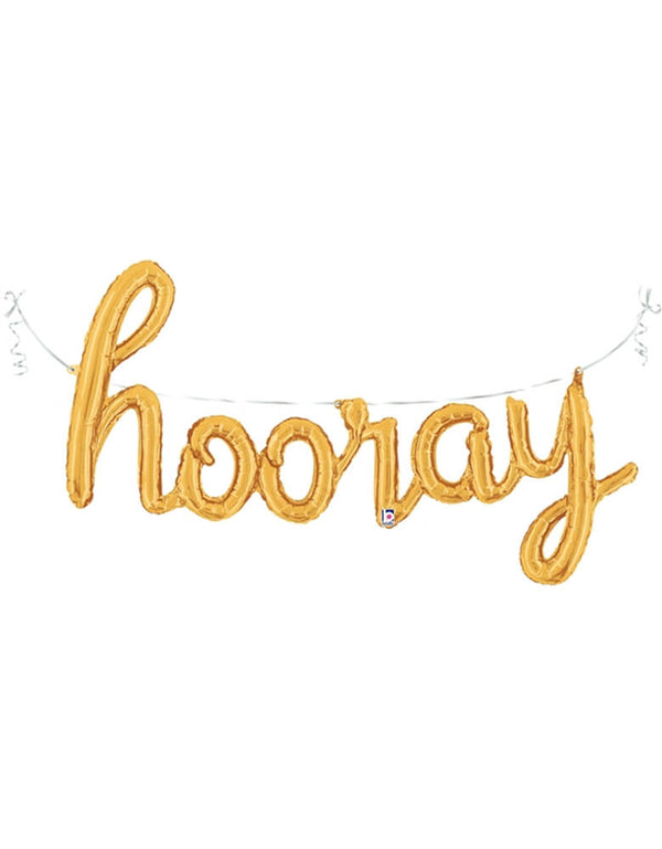 "Betallic 44"" Hooray Gold Script Mylar Balloon Set for a graduation party"