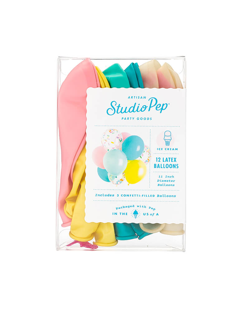 Studiopep Ice Cream Classic Balloon Mix Set of 12 in package