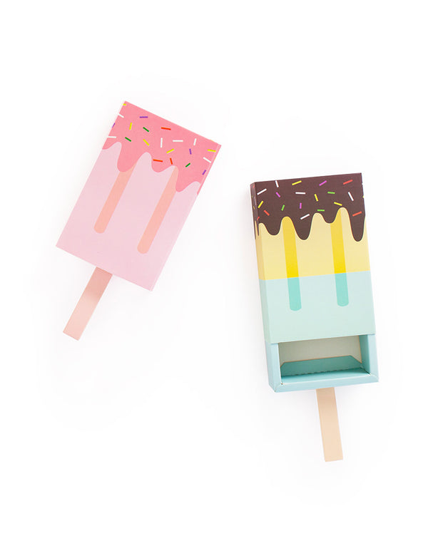 Creative Ice Cream Popsicle Shaped Candy Favor Boxes in Pink and Blue
