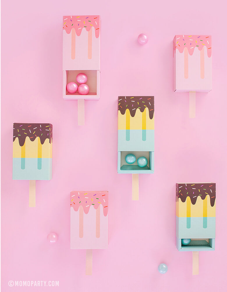 Summer fun Popsicle Shaped Candy Favor Boxes with Gummy Balls