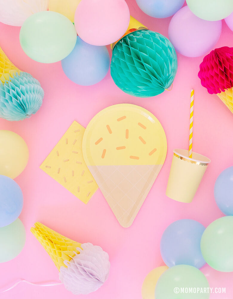 Yellow Ice Cream Large Paper Plate with Sprinkle Napkin and Pastel Yellow Cup and Straw