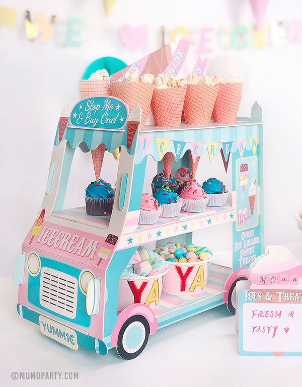super cute table ice cream party truck with M&M Yay Ice Cream Cups, Mini Cupcakes, Pop corns and mini paper sign