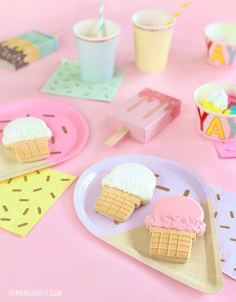 Summer Pastel Ice Cream themed Party Table of ice cream cookie on the ice cream paper plate