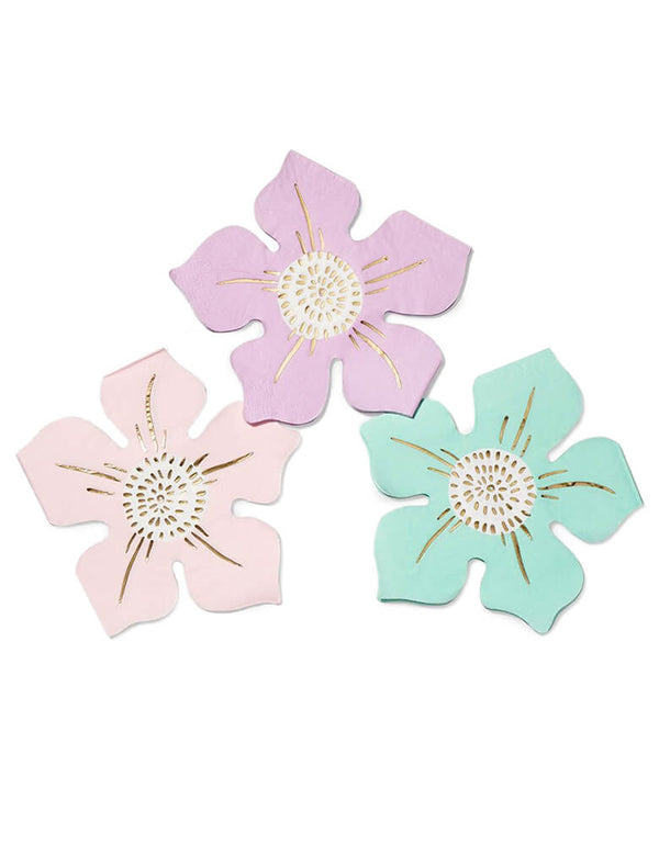 Coterie - In Full Bloom Napkins. Pack of 25. Featuring flower die cut shaped napkins in pastel pink, rose pink and mint color. These elegant unique shape and  pale tones on the floral napkins make a wonderful addition to any floral themed party.