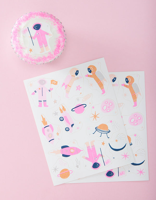 Intergalactic (Space Pink) Edible Decorating Stickers