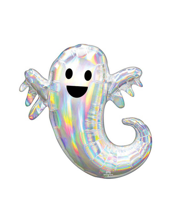 "Anagram 28"" Halloween Giant Iridescent Ghost Balloon, This foil balloon looks like a large happy ghost. a classroom Halloween party or getting ready for trick-or-treaters, this Halloween balloon is a cute addition to your Halloween decorations, Halloween Party, Spooky birthday party, Haunted House Party, nightmare before christmas Party"