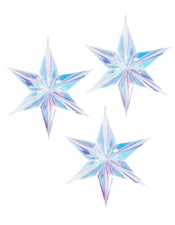 "A set of three 16"" Iridescent hanging Star Decorations"