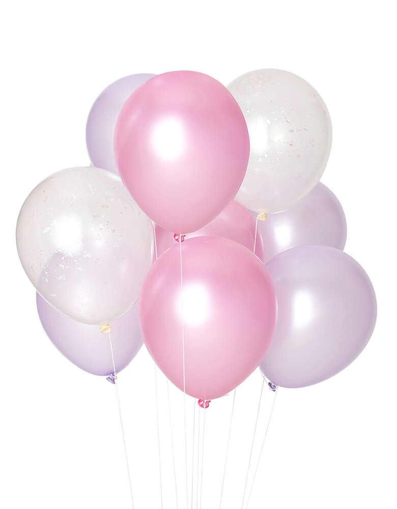 Studio Pep - Iridescent Classic Latex Balloon Mix. pack of 12, 9 solid colored balloons mixed with pearl pink, pearl lilac balloons and 3 pre-filled iridescent shred confetti balloons in a perfect color combo. Add this fun balloon bunch to your mermaid themed party, unicorn themed party, ice cream party or any type of celebration!