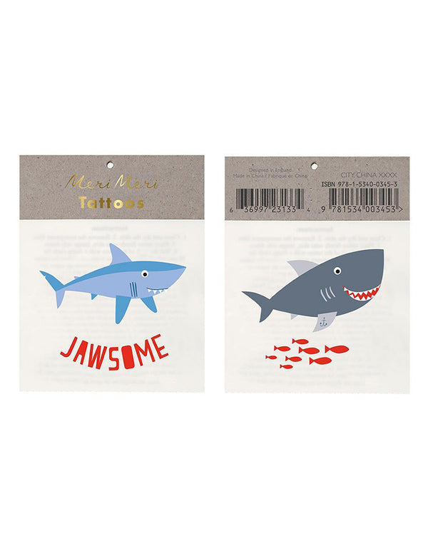 Meri Meri Jawsome Shark Temporary Tattoos Set of 2