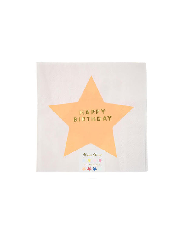 "Meri Meri 6.5"" Jazzy Stars Happy Birthday Large Napkins"