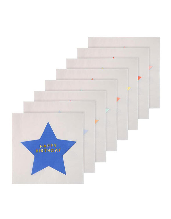 Meri Meri's Jazzy Stars Happy Birthday Large Napkins in 8 colors