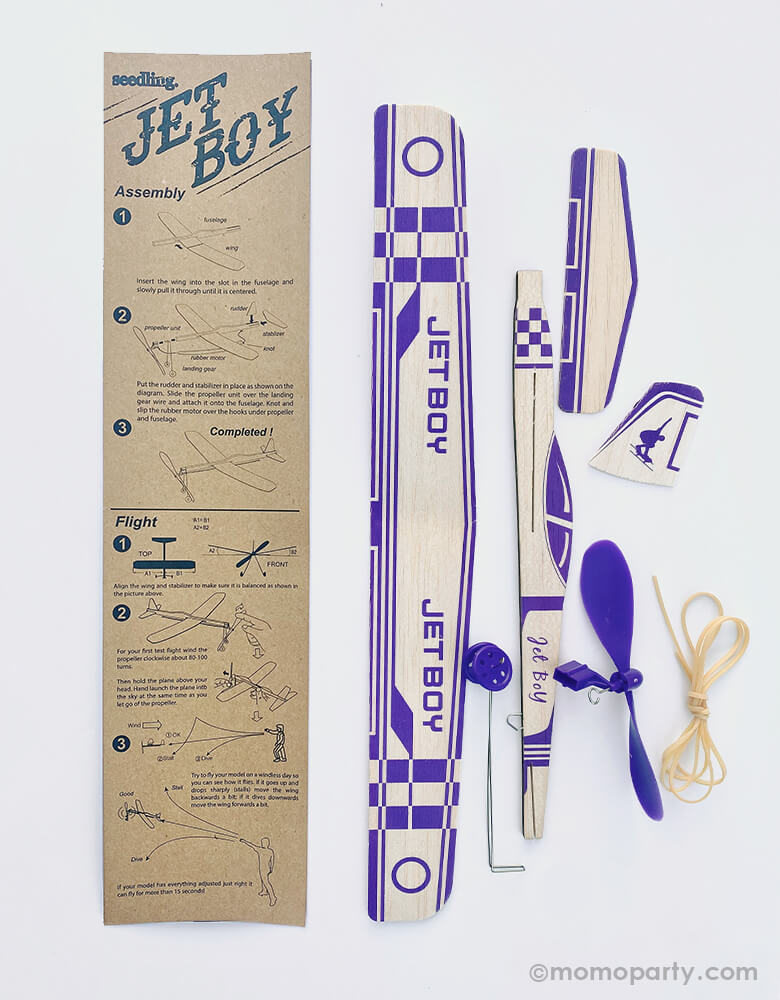 Jet Boy 35cm Rubber Band Powered Glider. This Elastic Powered Glider Rubber Band Plane Flying Model Aircraft Kids DIY Toy included rubber band, wooden airplane piece and instruction for you to build your own airplane