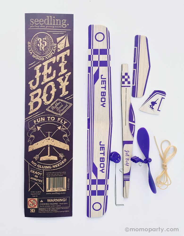 Jet Boy 35cm Rubber Band Powered Glider. This Elastic Powered Glider Rubber Band Plane Flying Model Aircraft Kids DIY Toy included rubber band, wooden airplane piece and instruction, is perfect gift for a airplane lover, birthday gift for boys, build your own eco friendly airplane