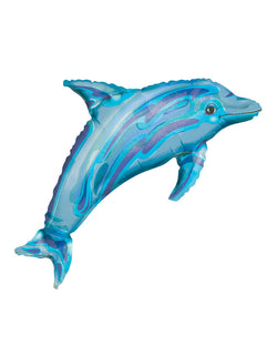 37 inch see-through Jewel Blue Dolphin Balloon