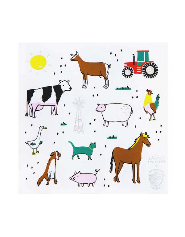 Day Dream Society & Jollity Co. On The Farm Sticker Set (Set of 4). Featuring all the cute farm animals like cow, horse, chick, sheep, duck, goose, pig, cat, tracker design, Illustrated by Lindsey Balbierz Pack of 4 sticker sheets Each sheet measures 4 inches square Printed and foil-pressed on premium matte sticker paper Packaged in a cellophane sleeve