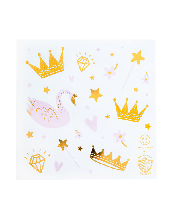 Day Dream Society & Jollity Co. Sweet Princess Sticker Set (Set of 4). Illustrated by Hello!Lucky Pretty in pink! Featuring blush pink and white paired with gold foil-pressed elements, these stickers are royally rad. We adore them for a swan princess party!