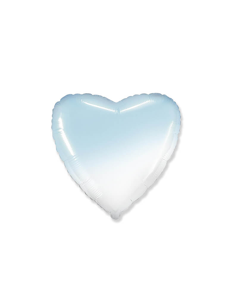 Junior Gradient Pastel Blue Heart Shaped Foil Balloon
