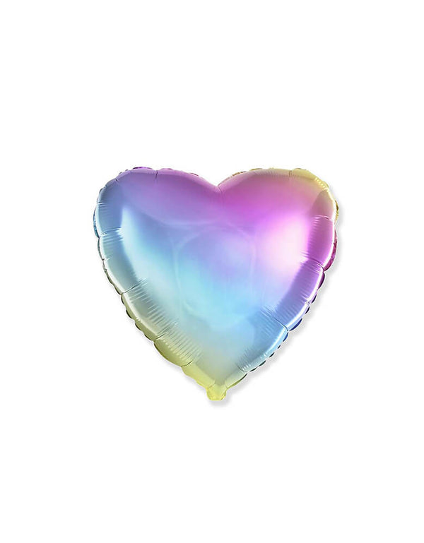 "Party Brands 18"" Junior Gradient Pastel Rainbow Heart Shaped Foil Balloon"