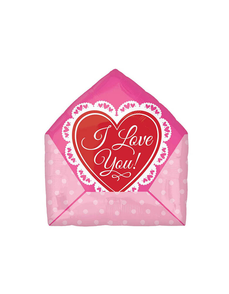 "The back of Anagram 16"" Junior Love Letter Foil Balloon with I Love You message for Valentine's Day"