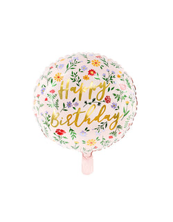 Party Deco -  14 inches Junior Floral Happy Birthday Foil Balloon. This adorable pink floral foil balloon with Happy Birthday message. it's perfect for a girl's birthday party, garden themed birthday party, Tea party, fairy party, Birthday party for Mom.
