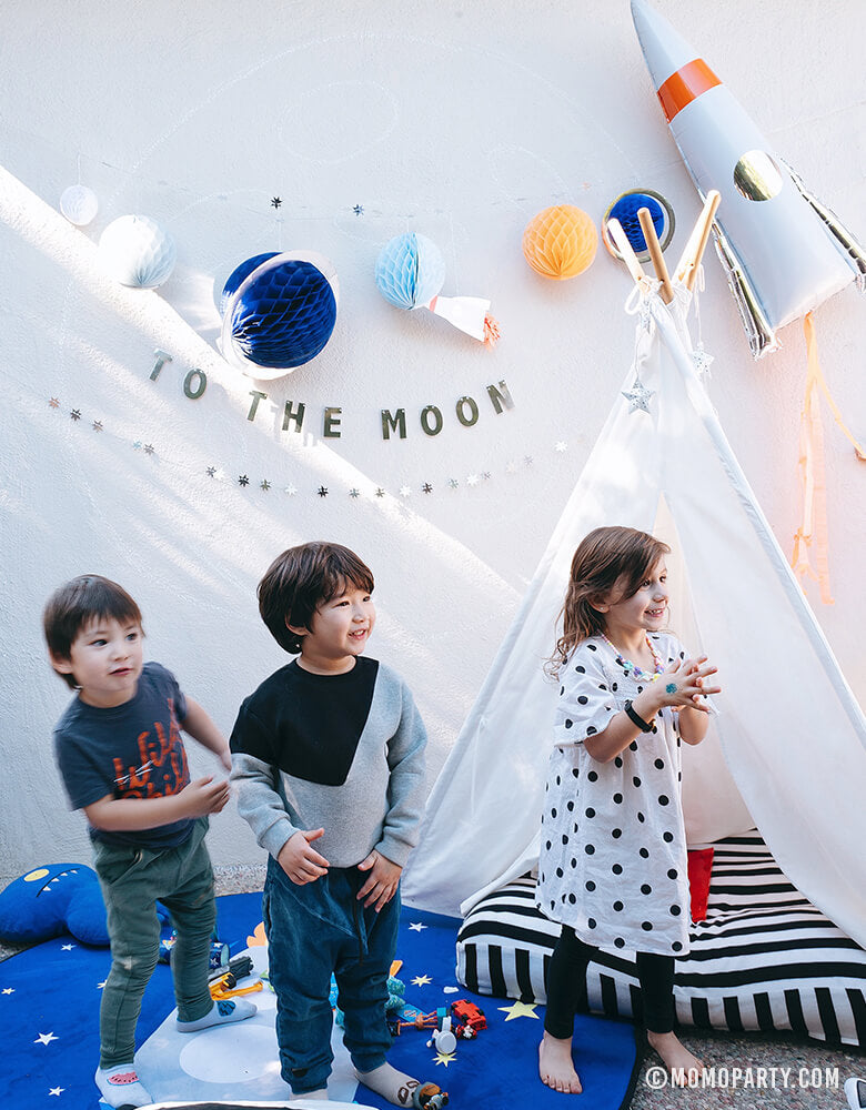 Kid's Party with Rocket Mylar Balloon and Space Garland