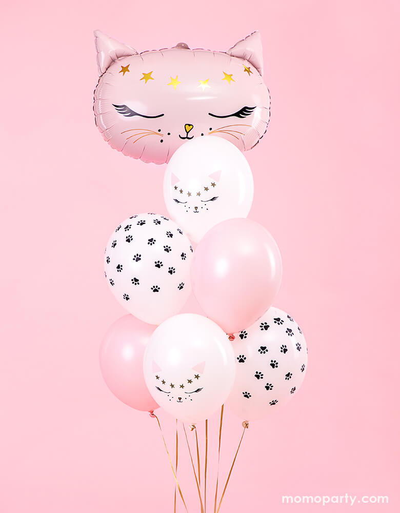 Party Deco - Kitty Cat Latex Balloon Mix with pink kitty foil balloon