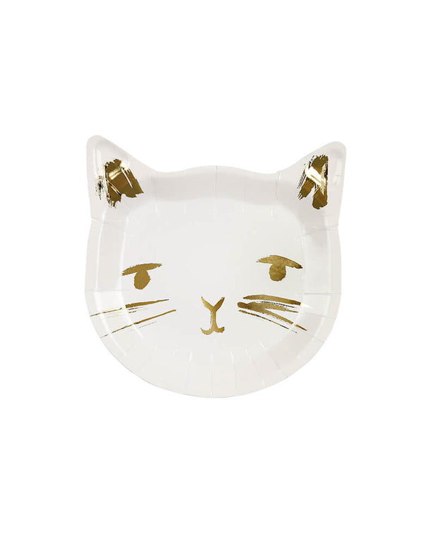 Meri Meri Cat plates, paper party ware, Set of 8. This cat paper plates feature an adorable illustrated cat face die cut shape, complete with delicate whiskers picked out in shimmering gold foil. they'll look purrfect on the party table of a Cat themed birthday party, Kitty Cat party, Pet's party, Pet's birthday party, Girl themed birthday party
