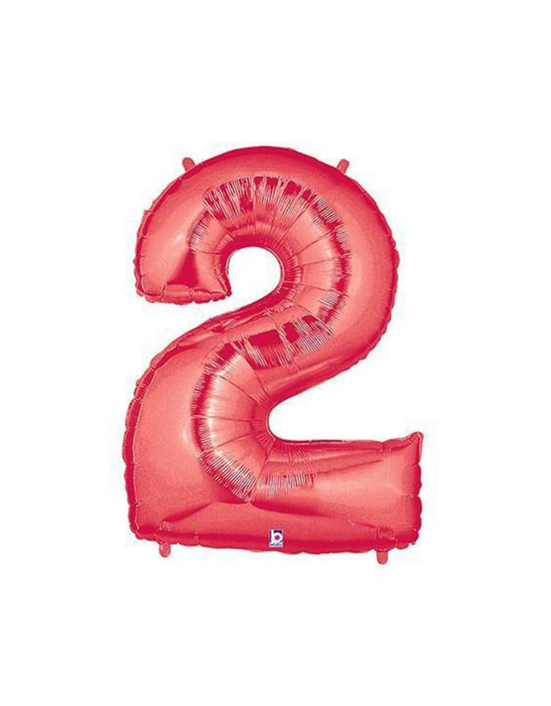 "40"" NUMBER 2 - RED MEGALOON Foil Party Balloon"