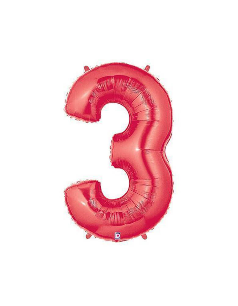 "40"" NUMBER 3 - RED MEGALOON Foil Party Balloon"