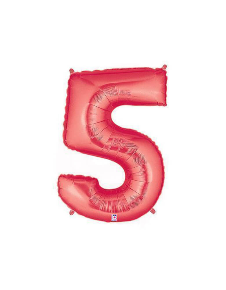 "40"" NUMBER 5 - RED MEGALOON Foil Party Balloon"