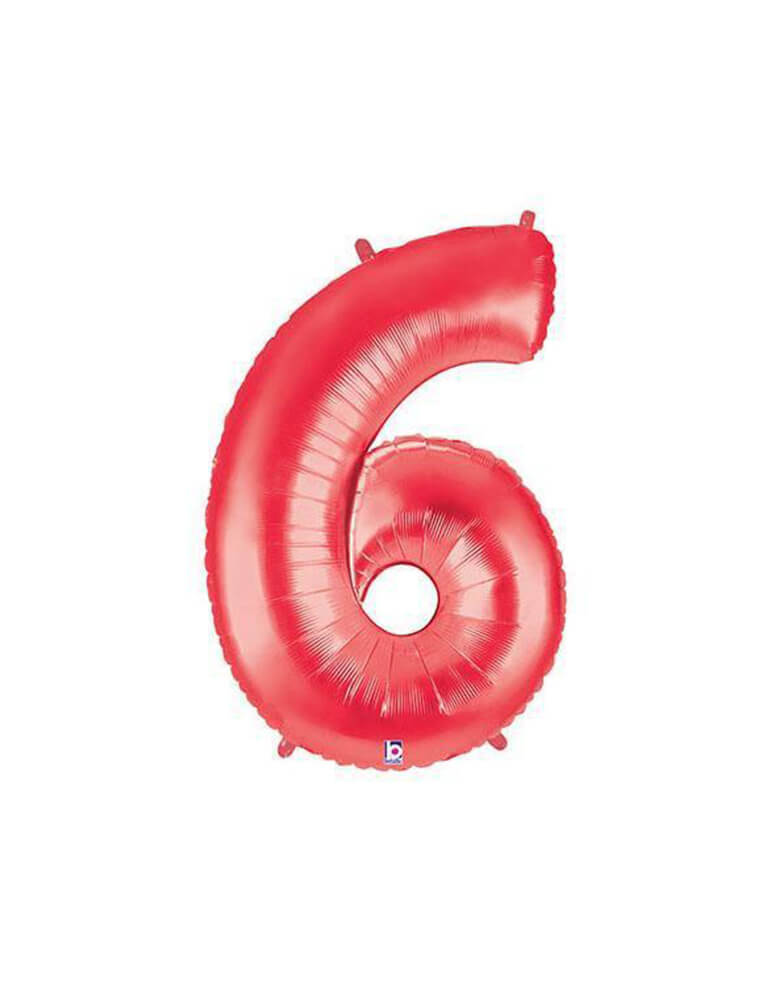 "40"" NUMBER 6 - RED MEGALOON Foil Party Balloon"