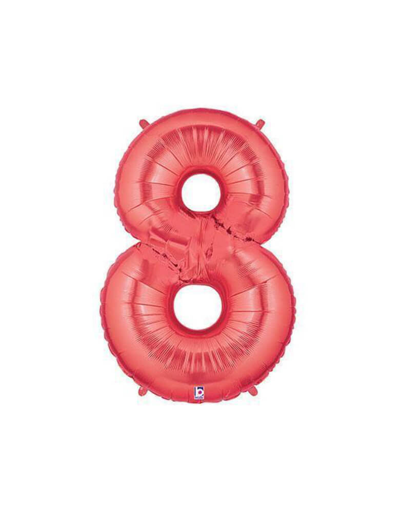 "40"" NUMBER 8 - RED MEGALOON Foil Party Balloon"