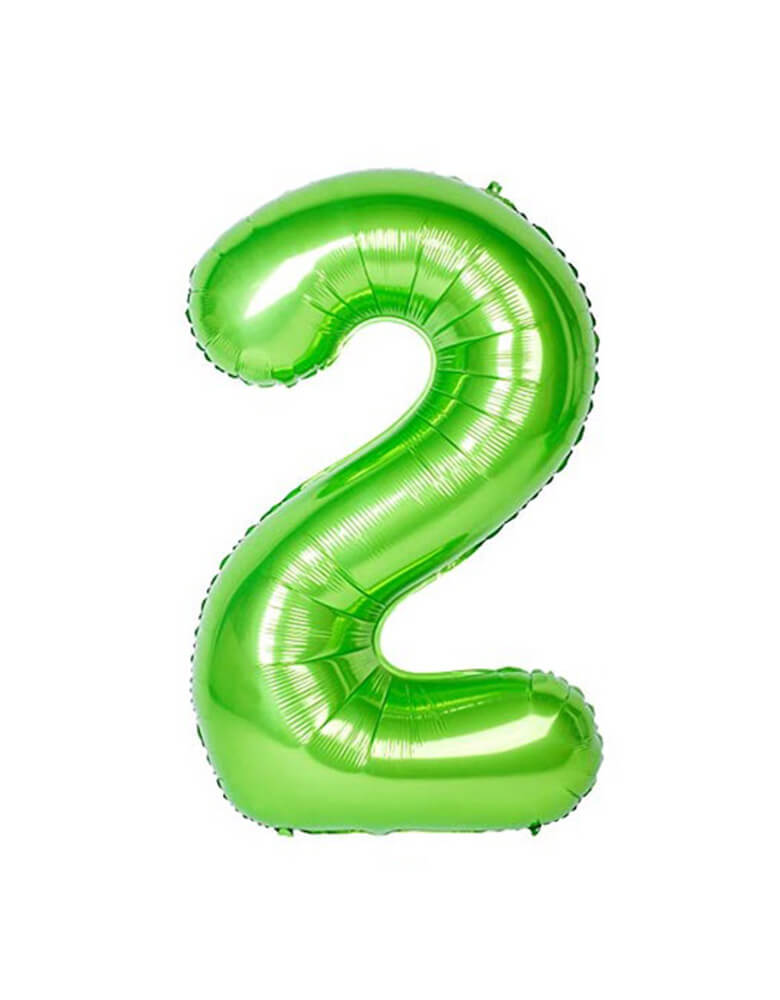 Large Number Green Foil Mylar Balloon of Number Two #2