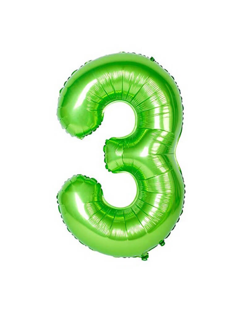 Large Number Green Foil Mylar Balloon of Number three #3