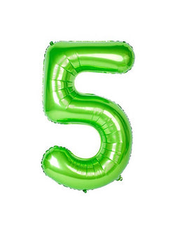 Large Number Green Foil Mylar Balloon of Number Five #5