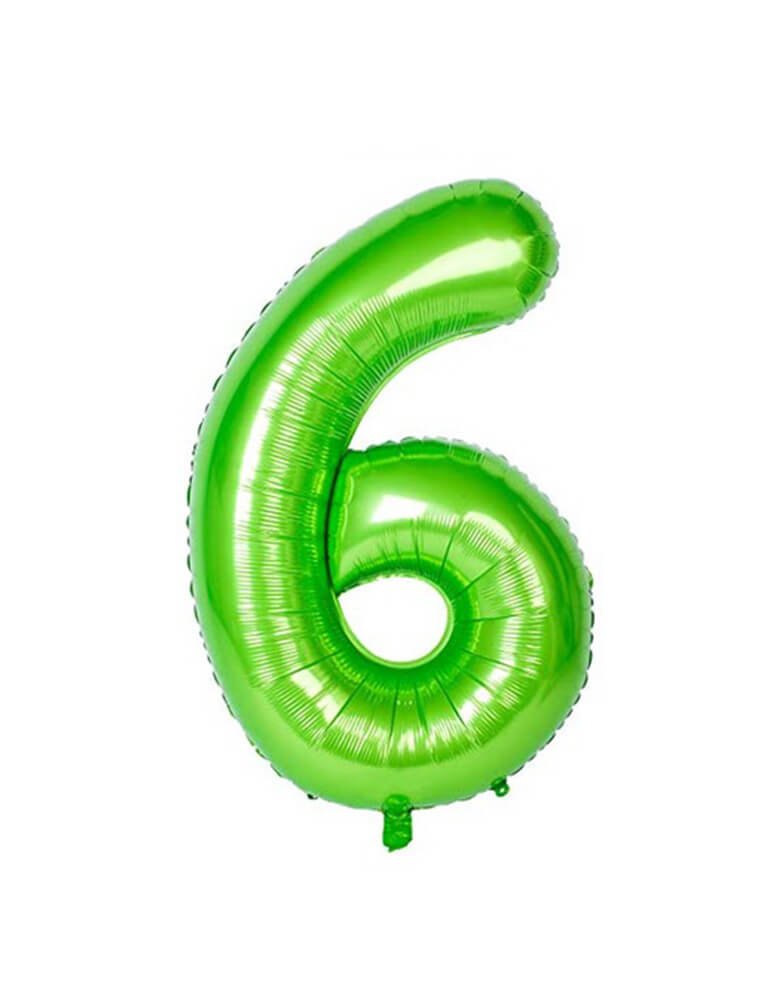 Large Number Green Foil Mylar Balloon of Number Six #6